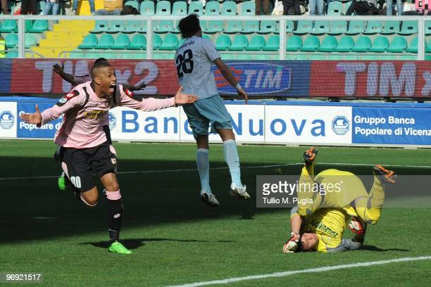 Abel Hernandez of Palermo celebrates after scoring the opening goal past goalkeeper Fernando Muslera of Lazio during the Serie A match between US...