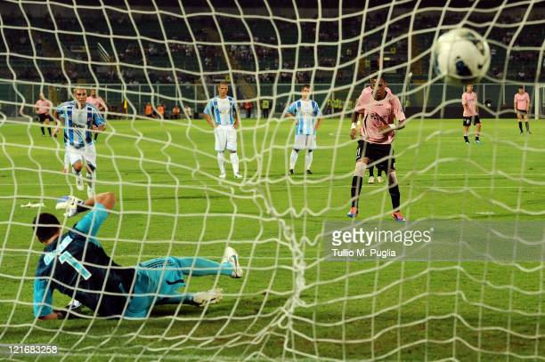 Abel Hernandez of Palermo scores a penalty during the pre season friendly match between Us Citta di Palermo and Fenerbahce at Stadio Renzo Barbera on...