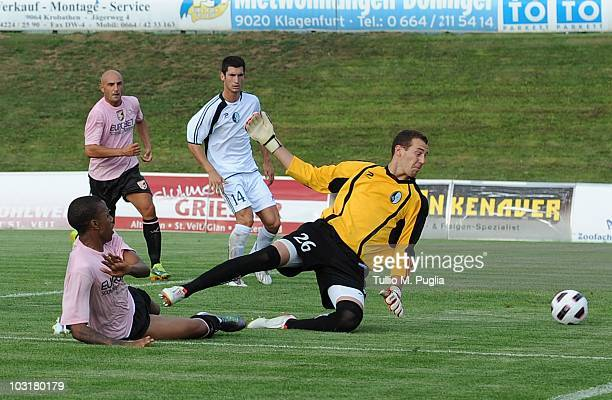 Abel Hernandez of Palermo scores his third goal during the preseason friendly match between US Citta di Palermo and RAD Belgrado at Jacques Lemans...