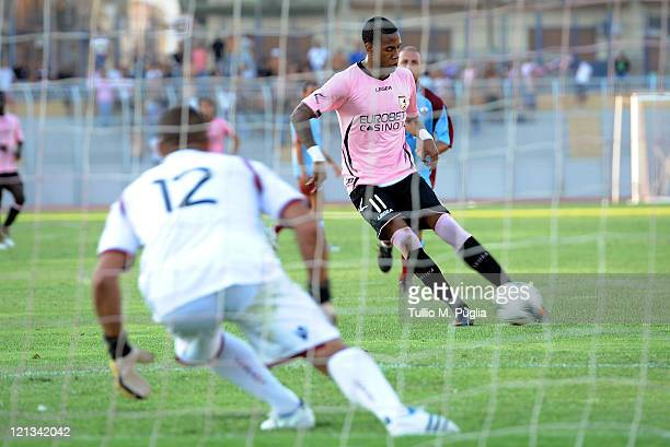 Abel Hernandez of Palermo shoots from the penalty spot to score during the pre season friendly match between Trapani Calcio and Us Citta di Palermo...