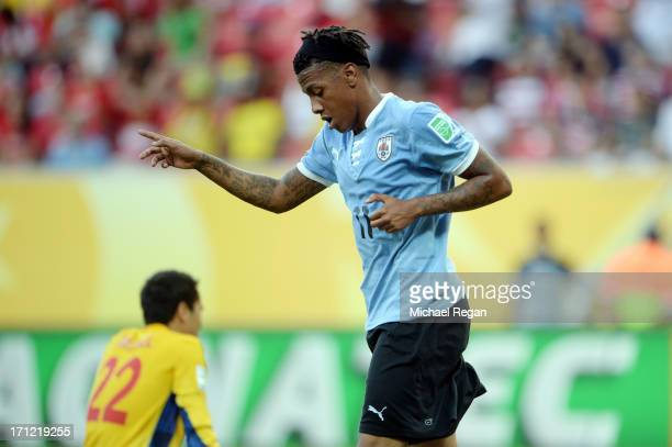 Abel Hernandez of Uruguay celebrates after scoring in the 24th minute against Tahiti during the FIFA Confederations Cup Brazil 2013 Group B match...