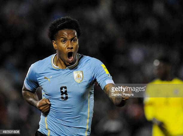 Abel Hernández of Uruguay celebrates after scoring the third goal during a match between Uruguay and Colombia as part of FIFA 2018 World Cup...