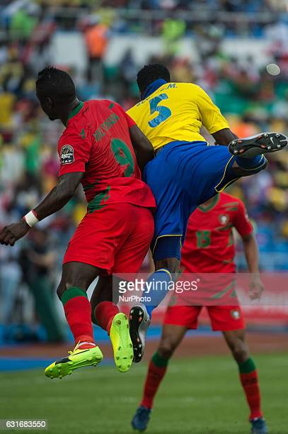 Abel Issa Camara and Bruno Ecuele Manga fighting for the ball during the first half at African Cup of Nations 2017 between Gabon and GuineaBissau at...