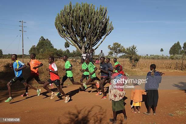 Abel Kirui of Kenya and double world champion in the marathon during a group training run in Angily on February 4 2012 in Nairobi Kenya