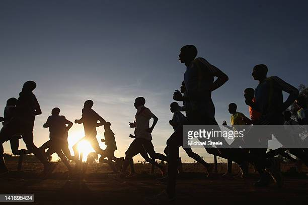 Abel Kirui of Kenya double world champion in the marathon during a training run in Angily on February 4 2012 in Nairobi Kenya