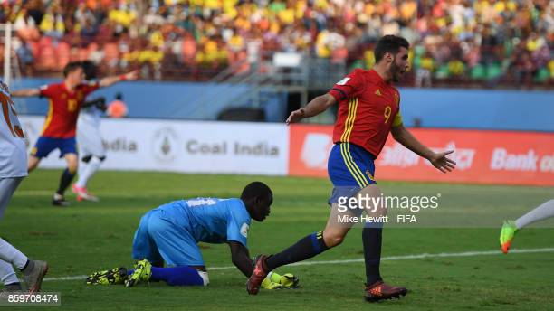 Abel Ruiz of Spain celebrates after scoring during the FIFA U17 World Cup India 2017 group D match between Spain and Niger at the Jawaharlal Nehru...