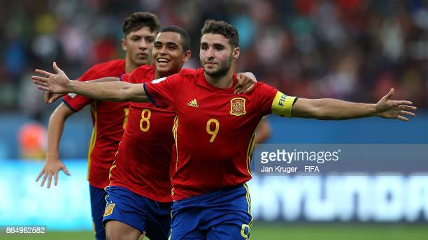 Abel Ruiz of Spain celebrates scoring the opening goal during the FIFA U17 World Cup India 2017 Quarter Final match between Spain and Iran at...