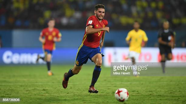 Abel Ruiz of Spain chases the ball during the FIFA U17 World Cup India 2017 group D match between Brazil and Spain at the Jawaharlal Nehru...