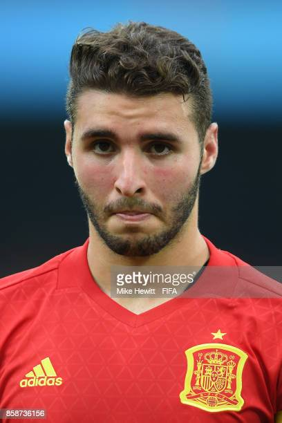 Abel Ruiz of Spain lines up for the National Anthems ahead of the FIFA U17 World Cup India 2017 group D match between Brazil and Spain at the...