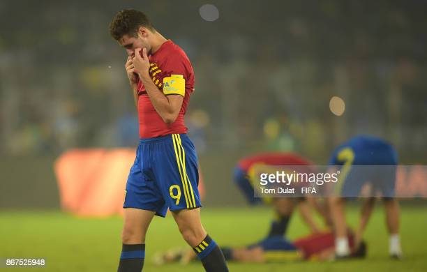 Abel Ruiz of Spain looks dejected after the FIFA U17 World Cup India 2017 Final match between England and Spain at Vivekananda Yuba Bharati Krirangan...