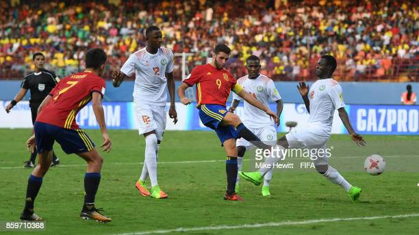 Abel Ruiz of Spain scores his second goal during the FIFA U17 World Cup India 2017 group D match between Spain and Niger at the Jawaharlal Nehru...