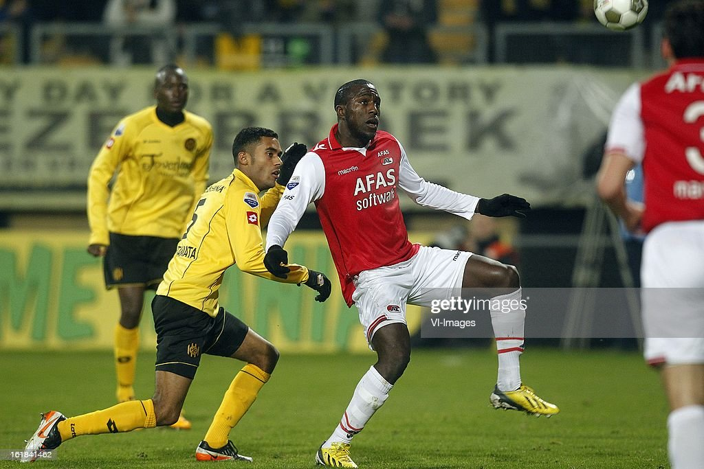 Abel Tamata of Roda JC (L), Jozy Altidore of AZ (R) during the Dutch Eredivisie match between Roda JC Kerkrade and AZ Alkmaar at the Parkstad Limburg Stadium on february 16, 2013 in Kerkrade, The Netherlands