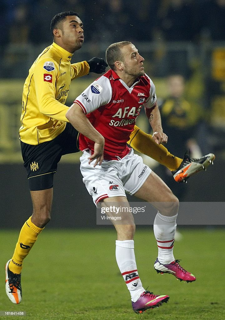 Abel Tamata of Roda JC (L), Roy Beerens of AZ (R) during the Dutch Eredivisie match between Roda JC Kerkrade and AZ Alkmaar at the Parkstad Limburg Stadium on february 16, 2013 in Kerkrade, The Netherlands