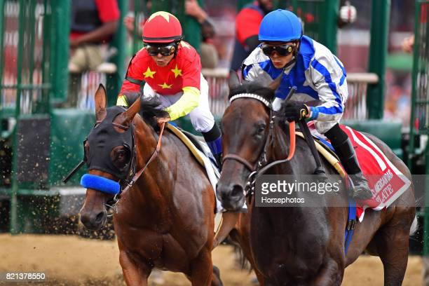 Abel Tasman with Mike Smith up wins the Grade I Coaching Club American Oaks at Saratoga Race Course on July 23 2017 in Saratoga Springs New York
