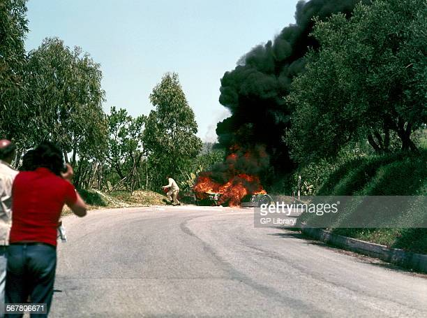 Abele Tanghetti's Chevron B21 engulfed in flames after crashing in the Targa Florio sicily 1973