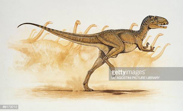 Abelisaurus dinosaur running in a forest