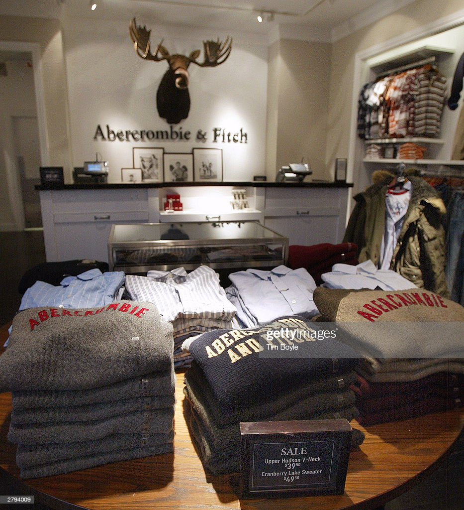 Abercrombie & Fitch clothing is displayed in one of its stores December 8, 2003 in Chicago, Illinois. A recent report claims that Abercrombie & Fitch discriminates against sales representatives based on their 'attractiveness.' They have also decided to remove its Christmas catalog, which some claim featured sexually explicit images, from its store shelves.