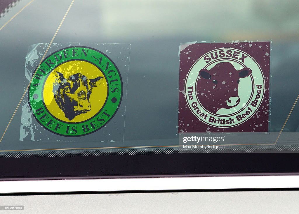 Aberdeen Angus and Sussex Beef window stickers seen in Prince Charles, Prince of Wales's Audi Allroad car whilst he visits the Uley Community Stores and Post Office on February 22, 2013 in Uley, Gloucestershire, England.