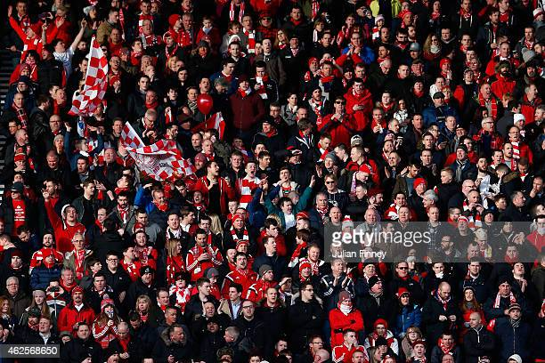 Aberdeen fans show their spport during the Scottish League Cup SemiFinal match between Dundee United and Aberdeen at Hampden Park on January 31 2015...