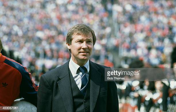 Aberdeen FC manager Alex Ferguson at the Scottish Cup final between Aberdeen and Rangers FC at Hampden Park Glasgow 22nd May 1982 Aberdeen won 41...