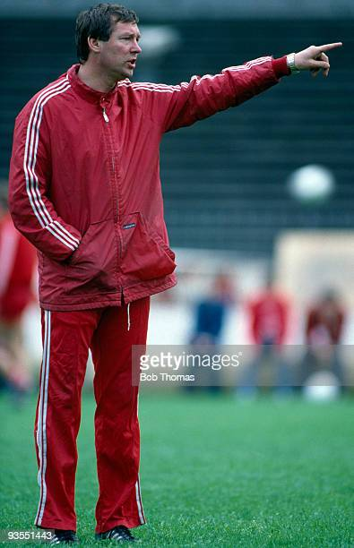 Aberdeen manager Alex Ferguson on 10th May 1983  This was the day before the European Cup Winners Cup Final against Real Madrid held at the Gamla...