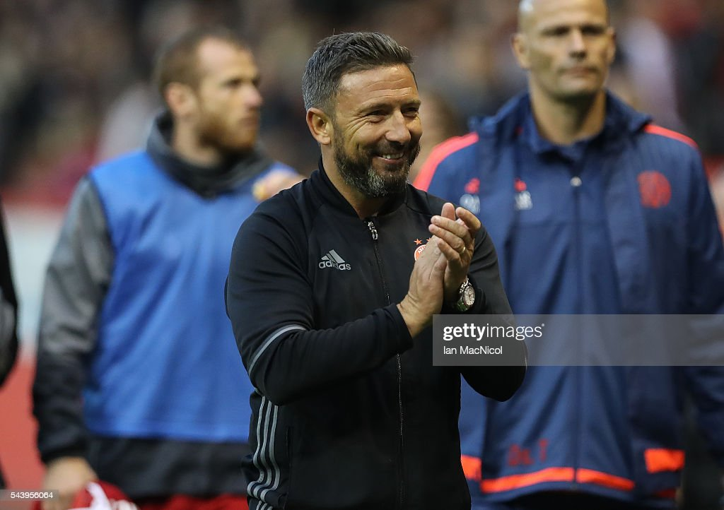Aberdeen manager Derek McInnes celebrates at full time during the UEFA Europa League First Qualifying Round, First Leg match between Aberdeen and CS Fola Esch at Pittodrie Stadium on June 30, 2016 in Aberdeen, Scotland.