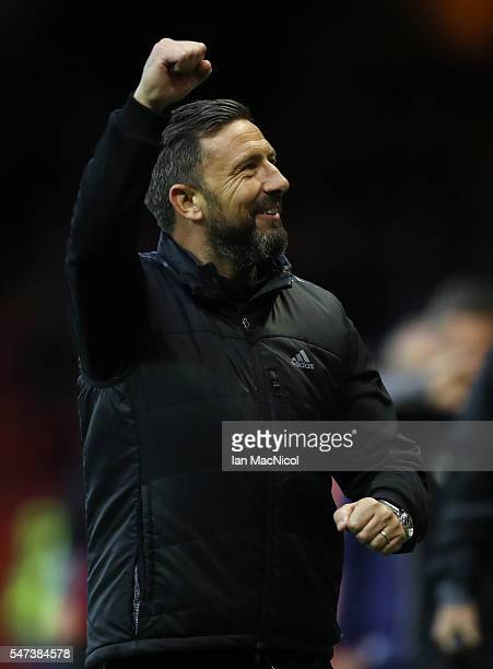 Aberdeen manager Derek McInnes celebrates during the UEFA Europa league second qualifying round first leg match between Aberdeen and Ventspils at...