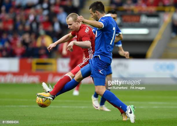 Aberdeen's Gary MackaySteven is tackled by Siroki Brijeg's Dino Coric during the UEFA Europa League Second Qualifying Round First Leg match at the...