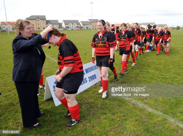 Aberdeenshire Quines celebrate winning the Bowl Final at Lasswade