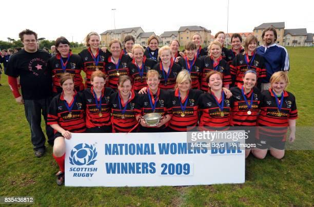 Aberdeenshire Quines celebrate winning the Bowl Final