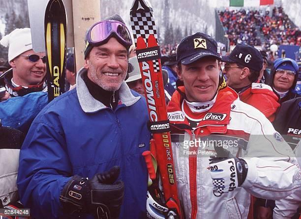 WM 1999 Abfahrt/Maenner Vail/USA Arnold SCHWARZENEGGER und Hermann MAIER/AUT