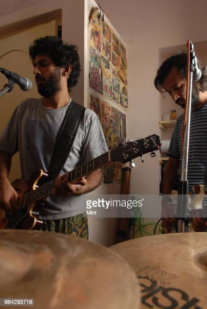 Abhijeet Tambe with his band members during musical practice session on March 23 2010 in Bangalore India