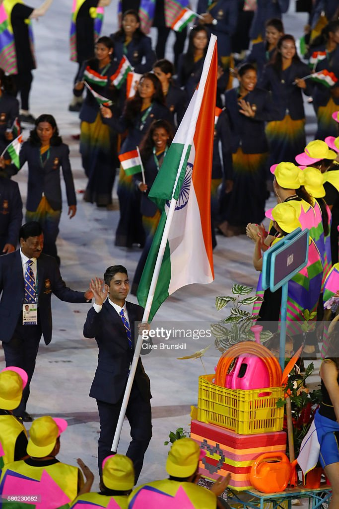 Abhinav Bindra of India carries the flag during the Opening Ceremony of the Rio 2016 Olympic Games at Maracana Stadium on August 5 2016 in Rio de...