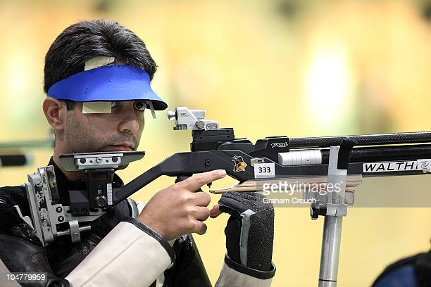 Abhinav Bindra of India competes during the Pairs 10m Air Rifle at Dr Karni Singh Shooting Range during day two of the Delhi 2010 Commonwealth Games...