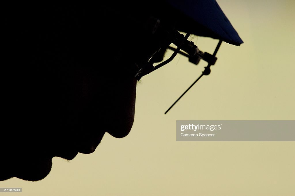 Abhinav Bindra of India composes himself between shots during the Men's 50m Rifle 3 Position competition during Small Bore Shooting at the Wellsford...