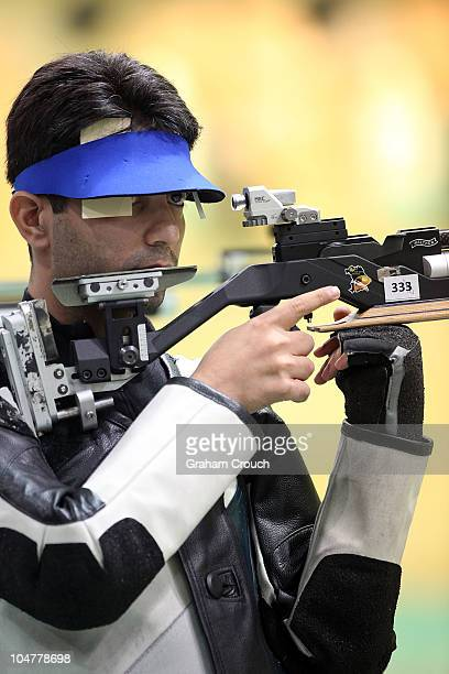 Abhinav Bindra of India in action during the Pairs 10m Air Rifle at Dr Karni Singh Shooting Range during day two of the Delhi 2010 Commonwealth Games...