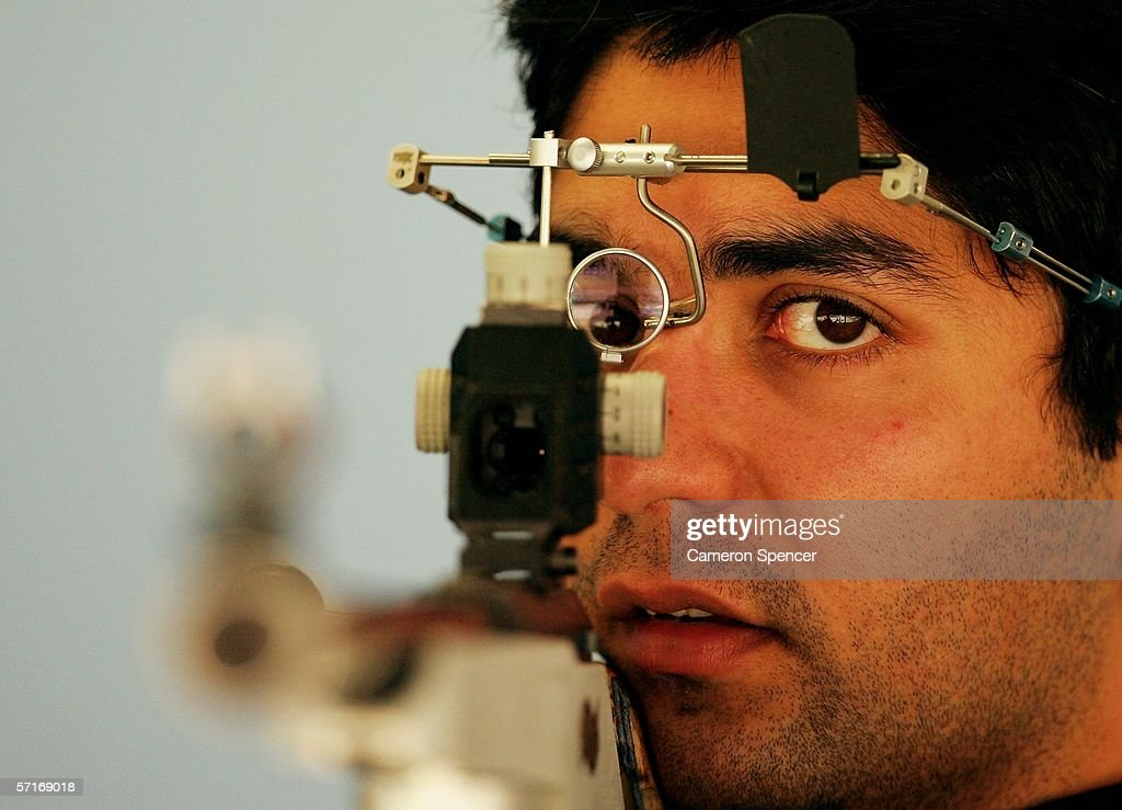 Abhinav Bindra of India poses for the camera after winning Silver during the Men's 50m Rifle 3 Position competition during Small Bore Shooting at the...