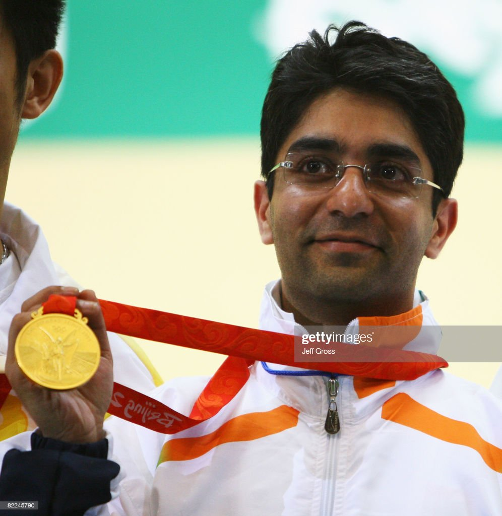 Abhinav Bindra of India poses with his gold medal in the Men's 10m Air Rifle Final at the Beijing Shooting Range Hall on day 3 of the Beijing 2008...