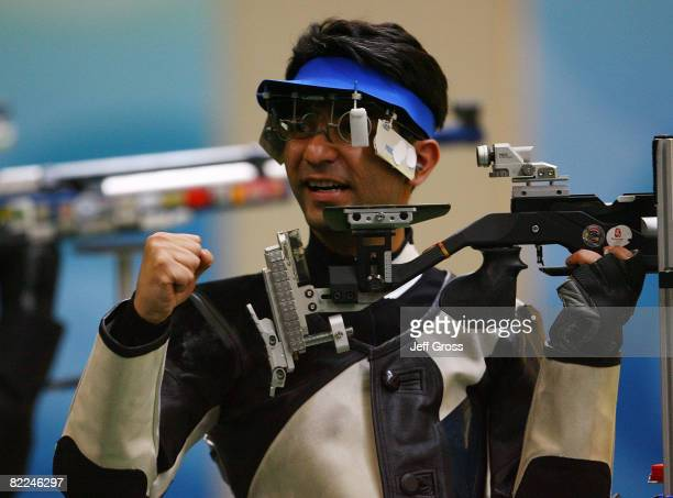 Abhinav Bindra of India reacts after winning the gold medal in the Men's 10m Air Rifle Final at the Beijing Shooting Range Hall on day 3 of the...