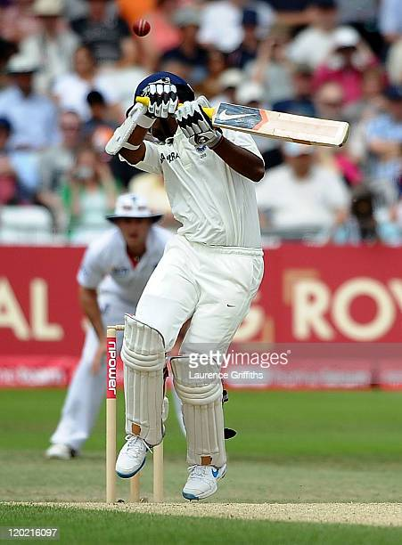 Abhinav Mukund of India edges the ball to Andrew Strauss of England off the bowling of Tim Bresnan during the second npower Test match between...