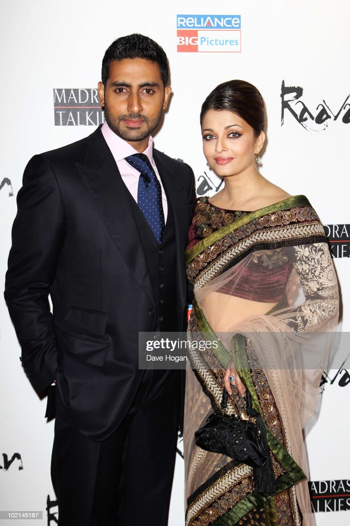 <a gi-track='captionPersonalityLinkClicked' href=/galleries/search?phrase=Abhishek+Bachchan&family=editorial&specificpeople=549431 ng-click='$event.stopPropagation()'>Abhishek Bachchan</a> and <a gi-track='captionPersonalityLinkClicked' href=/galleries/search?phrase=Aishwarya+Rai&family=editorial&specificpeople=202237 ng-click='$event.stopPropagation()'>Aishwarya Rai</a> attend the world premiere of Raavan held at The BFI Southbank on June 16, 2010 in London, England.