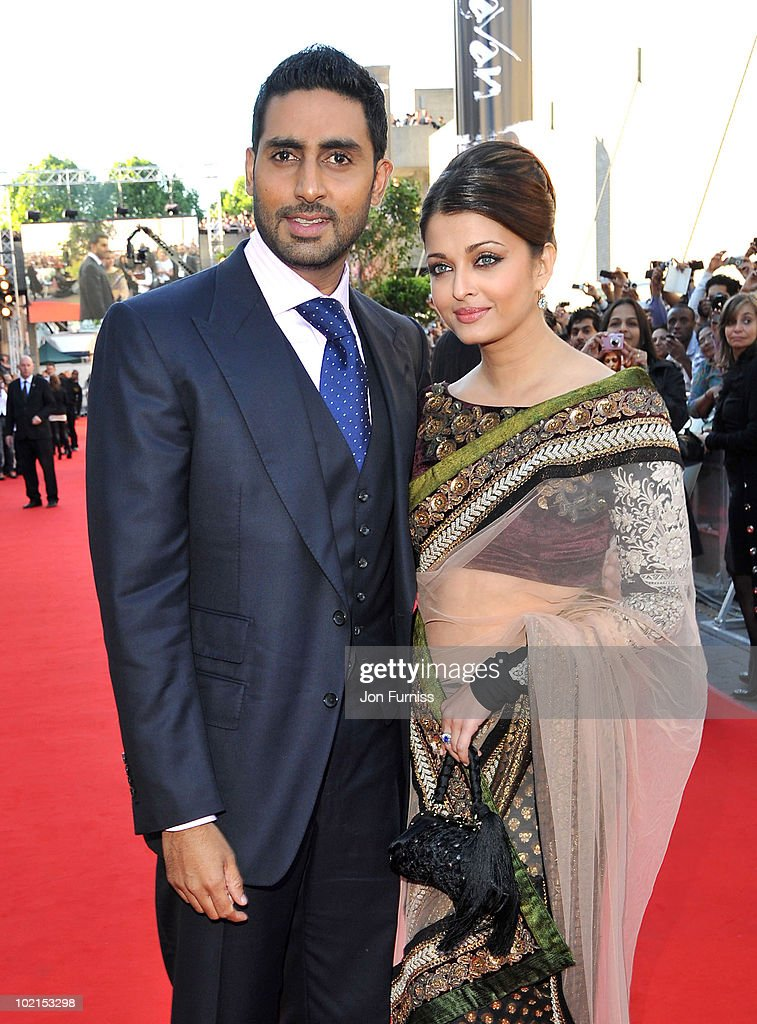 Abhishek Bachchan and Aishwarya Rai Bachchan arrives at the London premiere of 'Raavan' at BFI Southbank on June 16, 2010 in London, England.