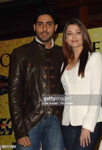 Abhishek Bachchan and wife Aishwarya Rai Bachchan pictured during a photocall for the 'Unforgettable Tour' the biggest ever Bollywood stage show at...
