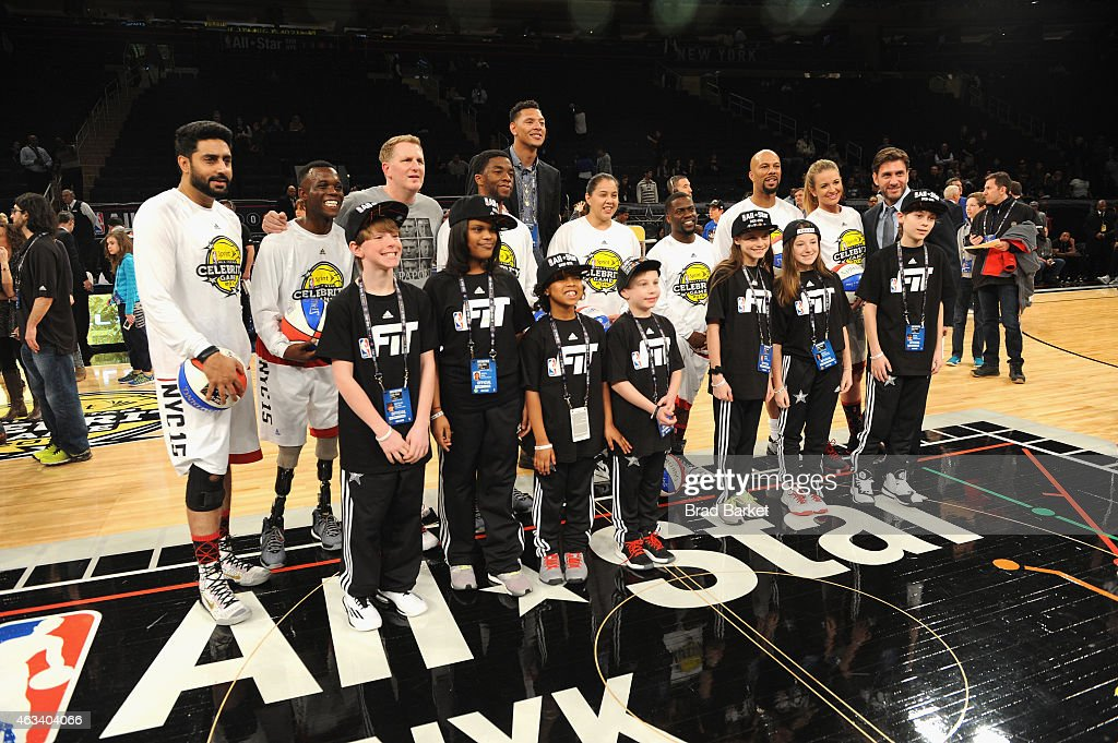 Abhishek Bachchan Blake Leeper Michael Rapaport Chadwick Boseman Isaiah Austin Shoni Schimmel Kevin Hart Common and Kristen Ledlow attend the NBA...