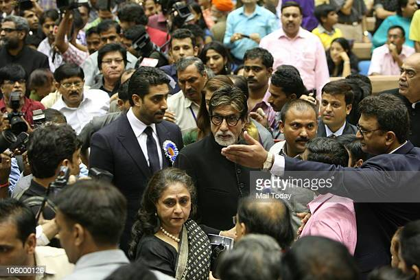Abhishek Jaya and Amitabh Bachchan during the 57th National Film Awards function in New Delhi on October 22 2010