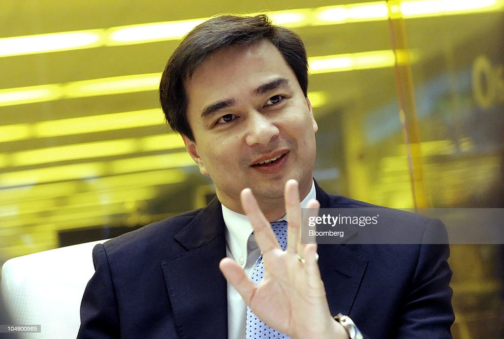 <a gi-track='captionPersonalityLinkClicked' href=/galleries/search?phrase=Abhisit+Vejjajiva&family=editorial&specificpeople=645779 ng-click='$event.stopPropagation()'>Abhisit Vejjajiva</a>, Thailand's prime minister, speaks during an interview in New York, U.S., on Wednesday, Oct. 6, 2010. Thailand may do more to relax limits on money outflows and boost support for exporters most affected by the strengthening currency, while monitoring for 'excessive speculation,' Vejjajiva said. Photographer: Peter Foley/Bloomberg via Getty Images