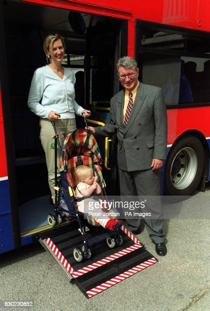 Abi Holgate with her one year daughter Eve from Oxfordshire with Transport Minister Lord Macdonald at Marble Arch in London trying out the new...