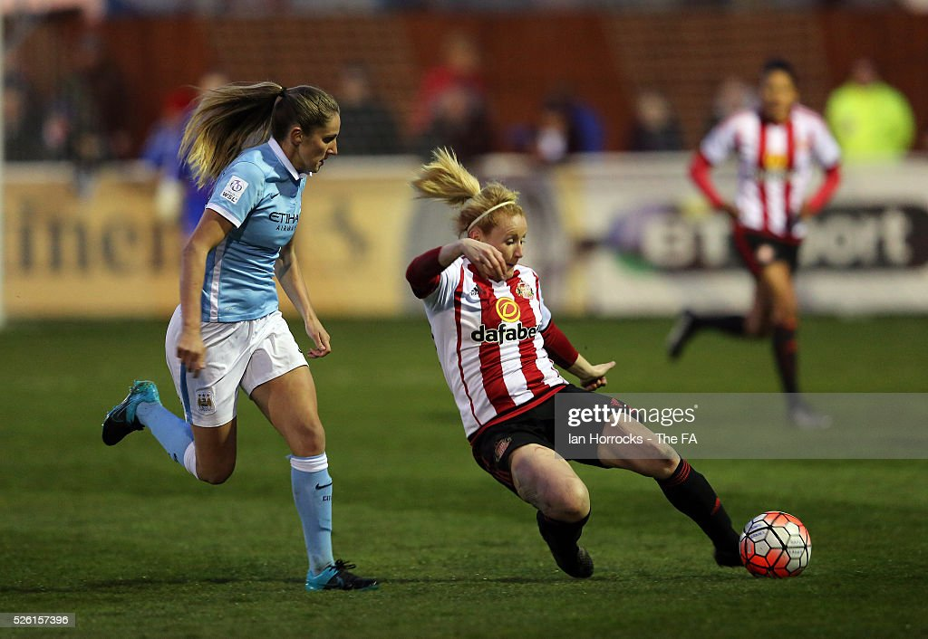 Abi McManus of Manchester City (L) chases Rachel Furness of Sunderland (R) during the WSL 1 match between Sunderland AFC Ladies and Manchester City Women at The Hetton Center on April 29, 2016 in Hetton, England.