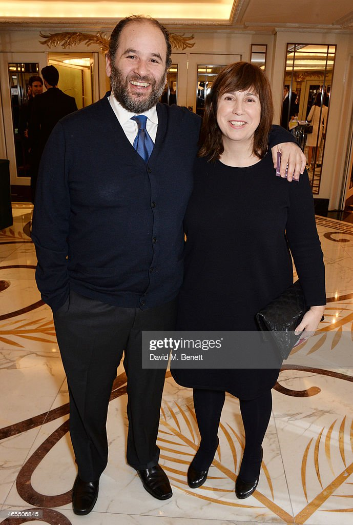 Abi Morgan (R) and Jacob Krichefski attend a drinks reception at the South Bank Sky Arts awards at the Dorchester Hotel on January 27, 2014 in London, England.