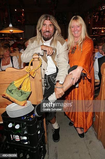 Abi Ofarim and his partner Kerstin Schmidt during the 'Sauerland Stammtisch' at Oktoberfest 2015 at Weinzelt /Theresienwiese on September 28 2015 in...